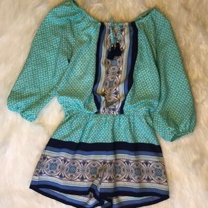 Teal and navy blue kids romper